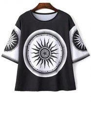 Casual Round Neck Tribe Totem Print T-Shirt For Women