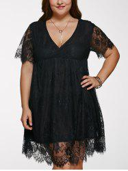 V Neck Plus Size Lace Short Dress With Sleeves - BLACK