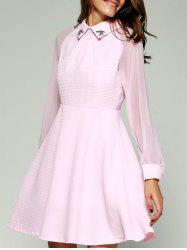 See-Through Beading Skater Short Dress with Sleeves - PINK