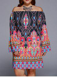 Off-The-Shoulder Plus Size Print Long Sleeve Shift Dress