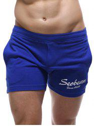 Casual Style Pockets Design Letter Print Lounge Shorts For Men - SAPPHIRE BLUE