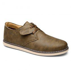 Retro Letter Embossed and Solid Color Design Casual Shoes For Men -