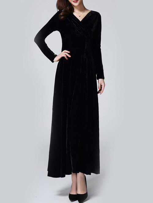 Hot Velvet Empire Waist Long Evening Dress with Sleeves