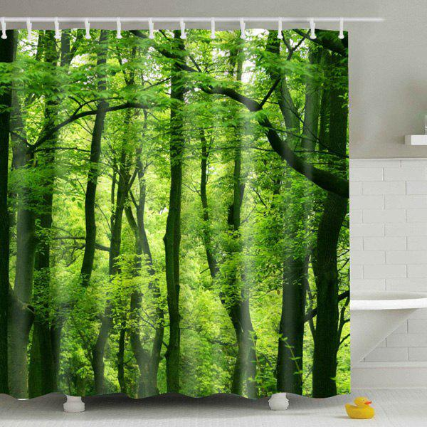Eyeful Eco-Friendly Green Woods Printing Shower Curtain For BathroomHOME<br><br>Color: COLORMIX; Type: Shower Curtains; Material: Polyester; Size(L*W)(CM): 150*180; Weight: 0.540kg; Package Contents: 1 x Shower Curtain;