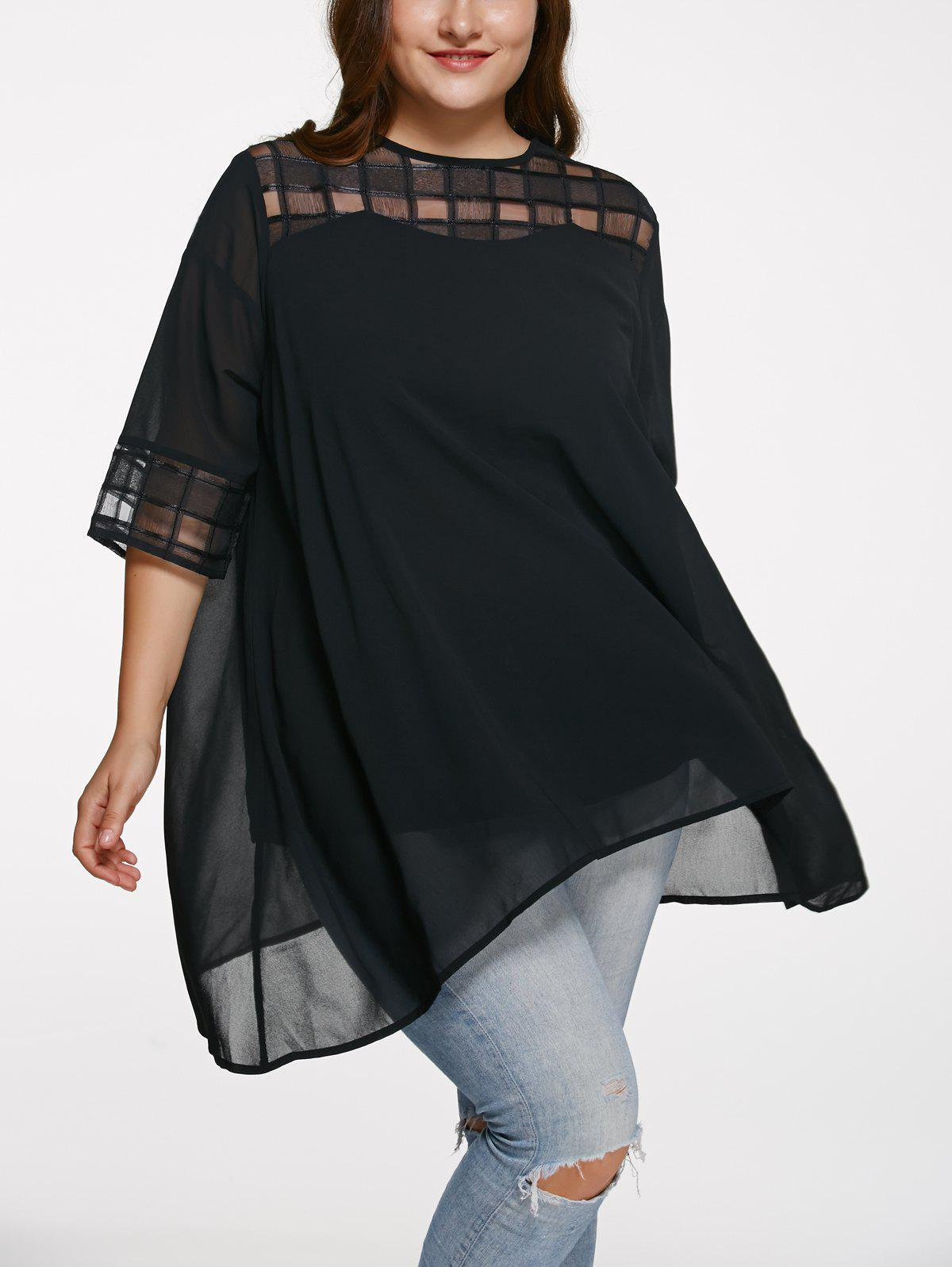 Chic 3/4 Sleeve See-Through Plus Size BlouseWOMEN<br><br>Size: 4XL; Color: BLACK; Material: Polyester; Fabric Type: Chiffon; Shirt Length: Long; Sleeve Length: Three Quarter; Collar: Round Neck; Style: Fashion; Season: Spring,Summer; Pattern Type: Solid; Weight: 0.2650kg; Package Contents: 1 x Blouse;