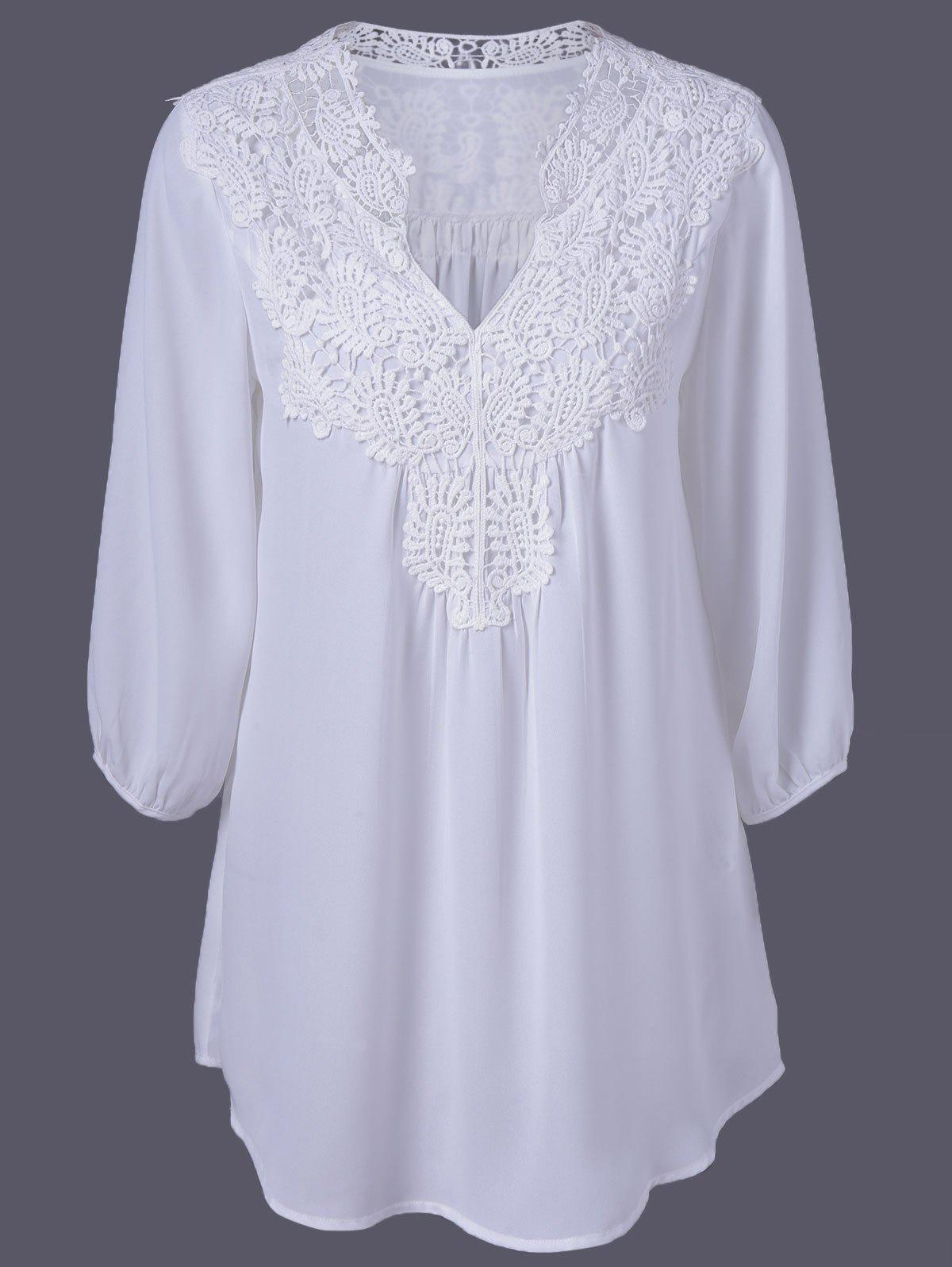Plus Size Sweet Crochet Spliced Tunic BlouseWOMEN<br><br>Size: 3XL; Color: WHITE; Material: Polyester; Shirt Length: Long; Sleeve Length: Three Quarter; Collar: V-Neck; Style: Casual; Season: Summer; Pattern Type: Patchwork; Weight: 0.2310kg; Package Contents: 1 x Blouse;