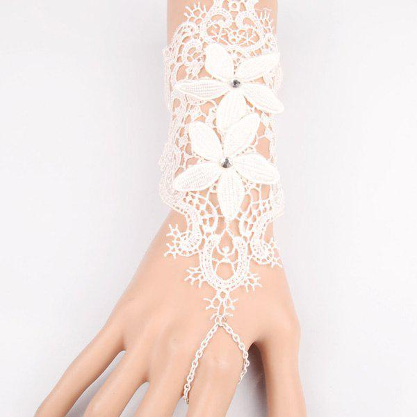 Charming Cut Out White Lace Foral Long Bracelet For WomenJEWELRY<br><br>Color: WHITE; Item Type: Charm Bracelet; Gender: For Women; Chain Type: Others; Material: Lace; Metal Type: Alloy; Style: Romantic; Shape/Pattern: Floral; Weight: 0.030kg; Package Contents: 1 x Bracelet;