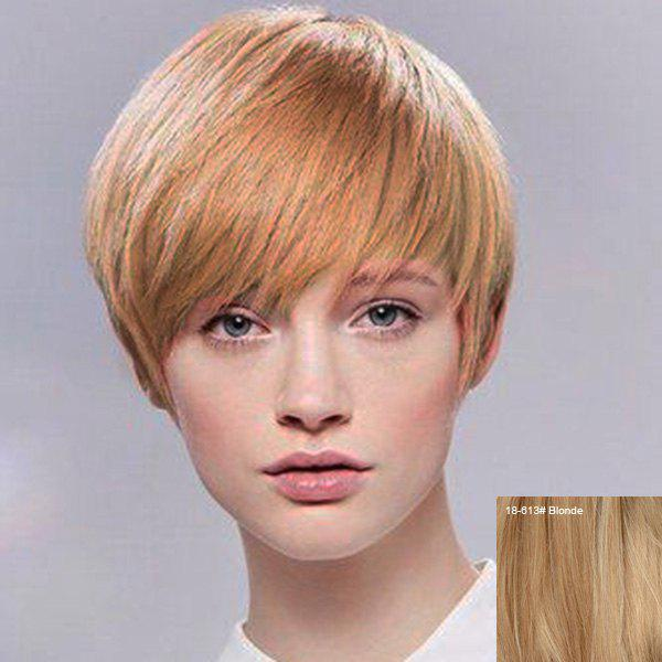 Buy Attractive Short Hairstyle Capless Straight Human Hair Wig For Women