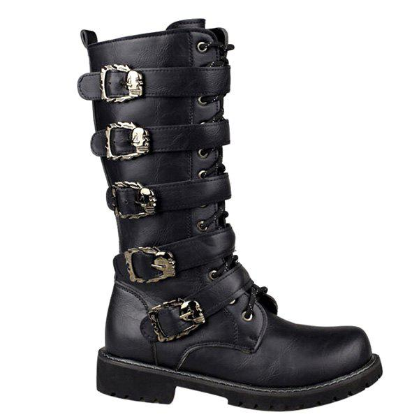 Discount Trendy Black and Buckles Design Boots For Men