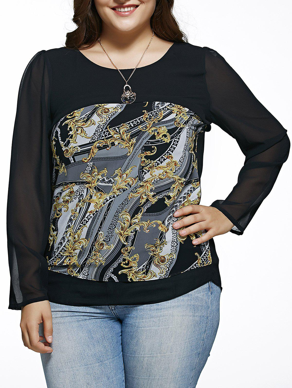 Online Oversized Chic Long Sleeve Abstract Print Blouse