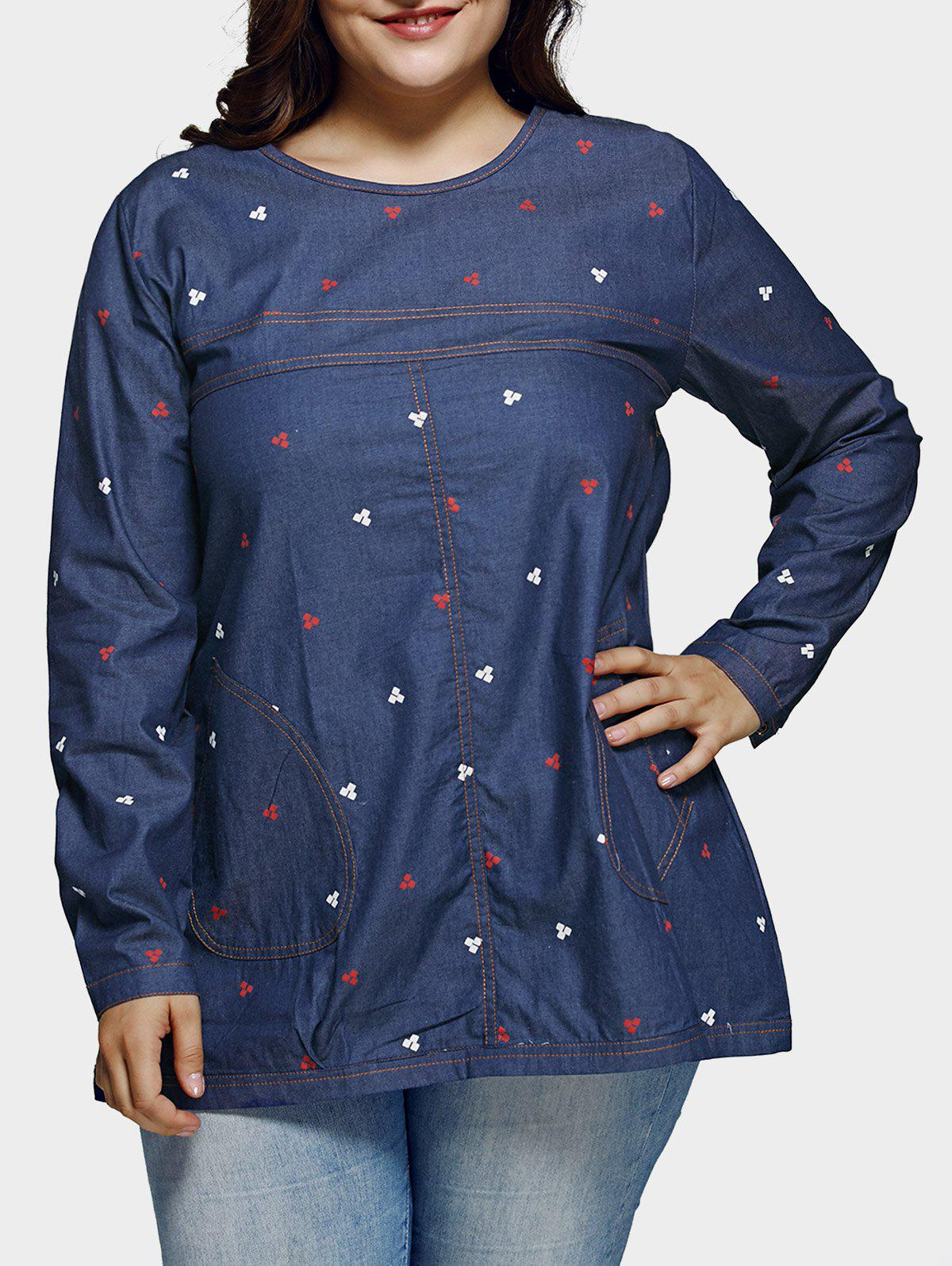 Plus Size Casual Place Motif Denim Blouse