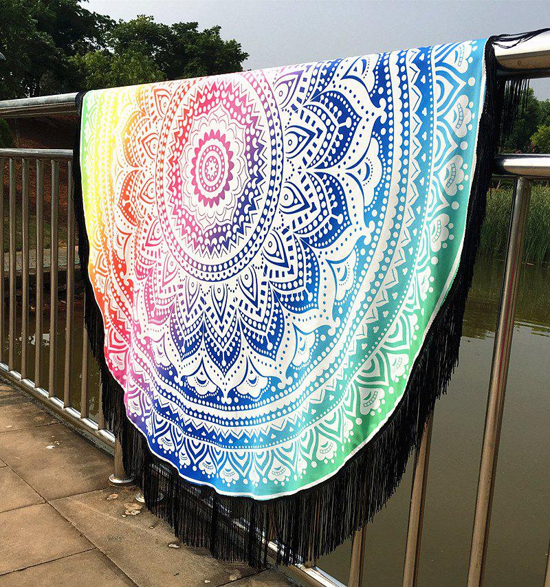 New Mandala Lotus Lotus Printed Long Fringe Round Beach Throw