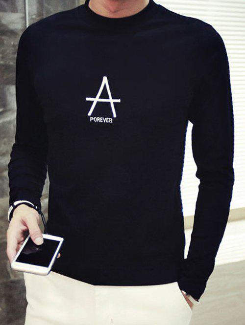 Outfit Brief Style Letter Print Round Neck Long Sleeve Tee For Men