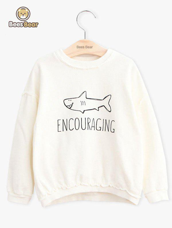 Shop Girls Long Sleeve Shark Pattern Letter Print Sweatshirt