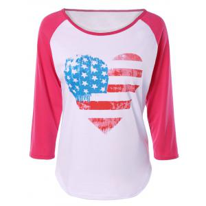 Heart Print Raglan Sleeve T-Shirt - Pink And White - S