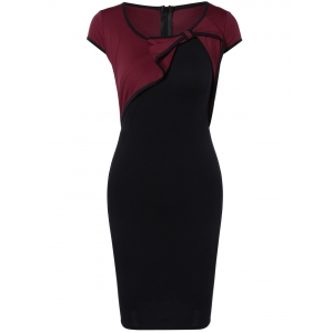 Elegant Bowknot Hit Color Bodycon Dress For Women - Wine Red - S