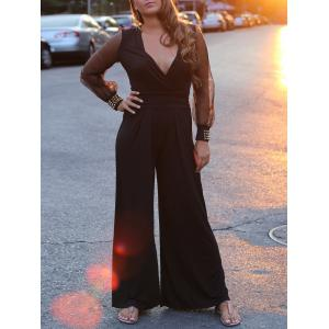 V-Neck Long Sleeve Wide-Leg Jumpsuit For Women - Black - One Size