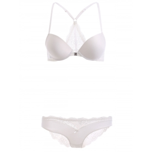 Front Closure Push Up Bra Set with Lace - White - 80c