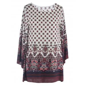 Ornate Printed Shift Dress With Sleeves - White - 2xl