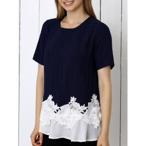 Floral Pattern Spliced Casual T-Shirt