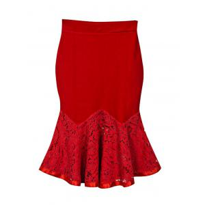 Charming Lace Spliced Flounce Women's Mermaid Skirt