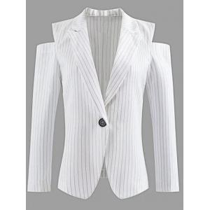 Lapel One-Button Striped Cut Out Cold Shoulder Blazer - White - S