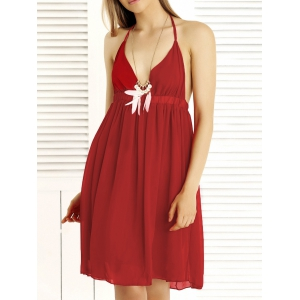 Alluring Halter Empire Waist Backless Summer Dress - Red - M