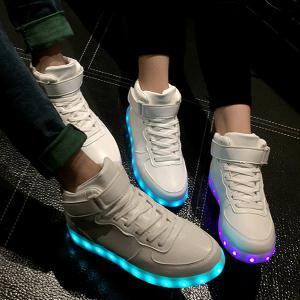 Trendy Lights Up Led Luminous and Tie Up Design Athletic Shoes For Women - White - 40