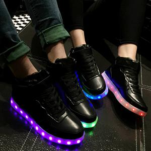 Trendy Lights Up Led Luminous and Tie Up Design Athletic Shoes For Women - Black - 38