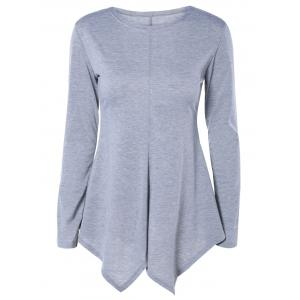 Sweet Pure Color Long Sleeve Asymmetric Tee
