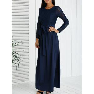 Long Sleeve Lace Splicing High Waist Dress - Purplish Blue - M