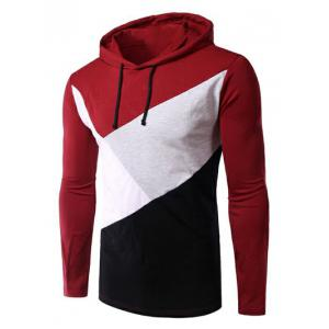 Casual Style Color Block Spliced Long Sleeve Hoodie For Men - Red - M