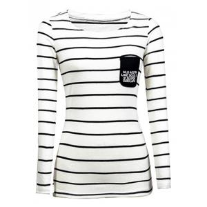 Chic Pocket Design Striped Slimming Women's T-Shirt - White - 3xl