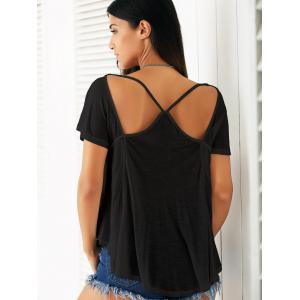 Casual Scoop Neck Cutout Solid Color T-Shirt For Women -
