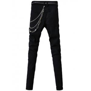 Zip-Up and Belt Embellished Zipper Fly Narrow Feet Pants For Men - BLACK 33