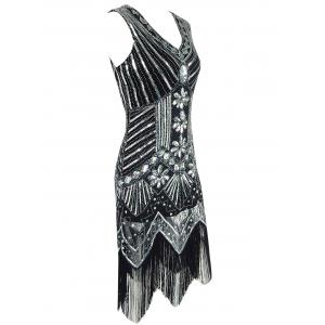 Fringed Sequined Wavy Cut Vintage Flapper Dress - BLACK S
