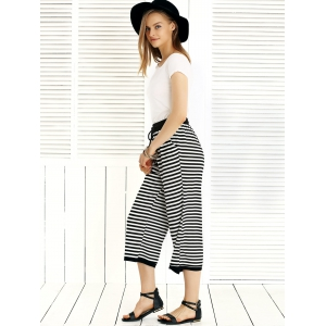 Chic Solid Color T-Shirt + Drawstring Striped Pants Women's Twinset -