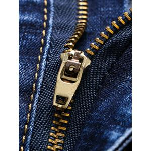 Number Print Patch and Holes Design Zipper Fly Narrow Feet Jeans For Men -