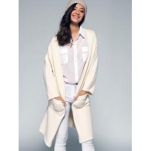 Pure Color Loose-Fitting Pocket Design Cardigan -