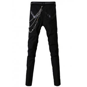 PU-Leather Spliced Zip-Up Embellished Zipper Fly Narrow Feet Pants For Men - BLACK 33