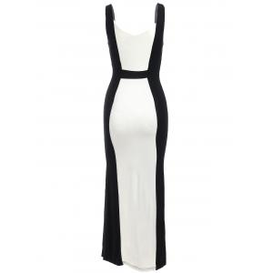 Two Tone Bodycon Midi Formal Dress - WHITE AND BLACK XL