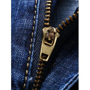 Embroidery Patch and Holes Design Zipper Fly Narrow Feet Jeans For Men -
