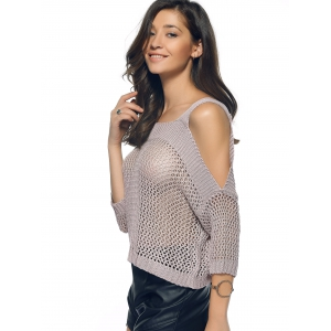 Cold Shoulder Openwork Pure Color Sweater -