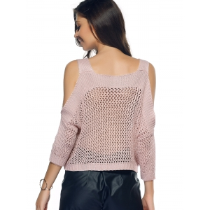 Cold Shoulder Openwork Pure Color Sweater - NUDE L