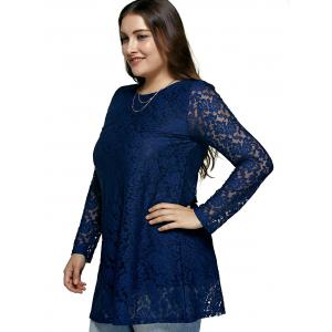 Women's Laciness Floral Oversized Dress - BLUE 5XL