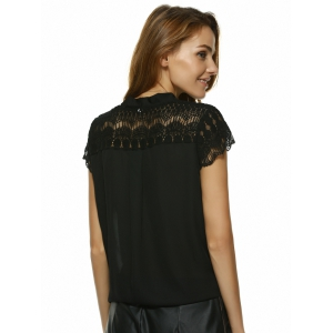V Neck Lace Insert Blouse -