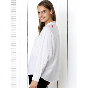 Chic Embroidery Buttoned Loose-Fitting Women's Shirt -
