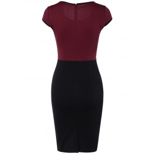 Elegant Bowknot Hit Color Bodycon Dress For Women -