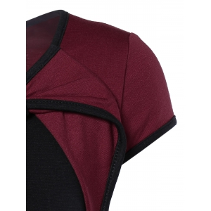 Elegant Bowknot Hit Color Bodycon Dress For Women - WINE RED 2XL