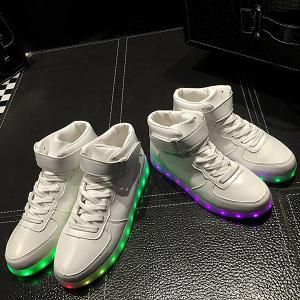 Trendy Lights Up Led Luminous and Tie Up Design Athletic Shoes For Women - WHITE 40